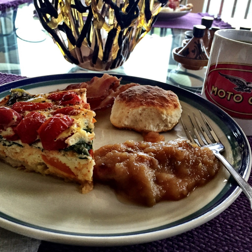 The quiche, bacon, and fried apples were great, but those biscuits...