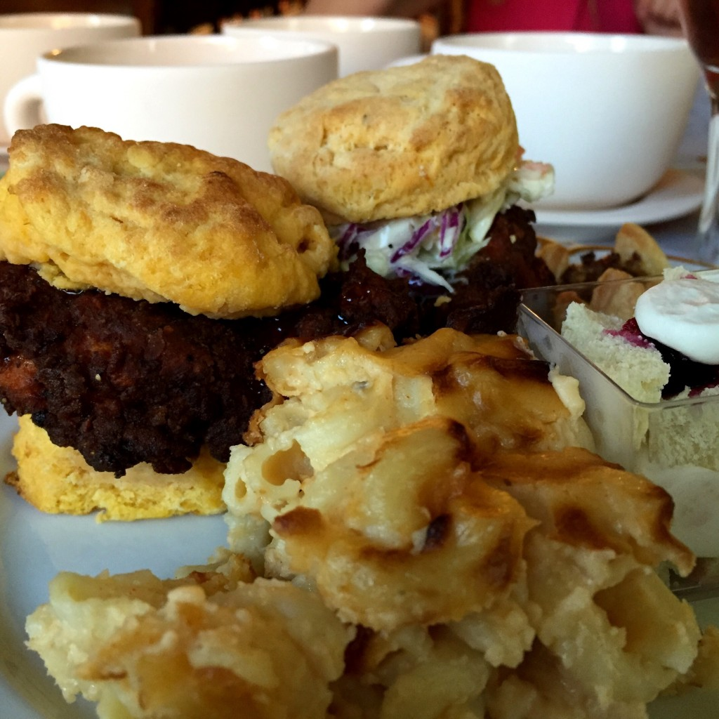 OMG.  Wish I had these fried chicken and sweet potato biscuits now