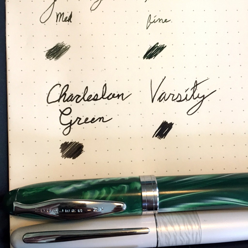 The Varsity is using its non-refillable black ink from an unspecified but about medium nib
