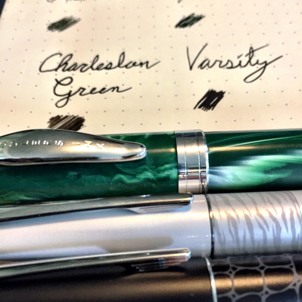 The Zhivago is from a medium nib, the Diamine from a fine, The Charleston Green is from a Noodler's Ahab flex nib.