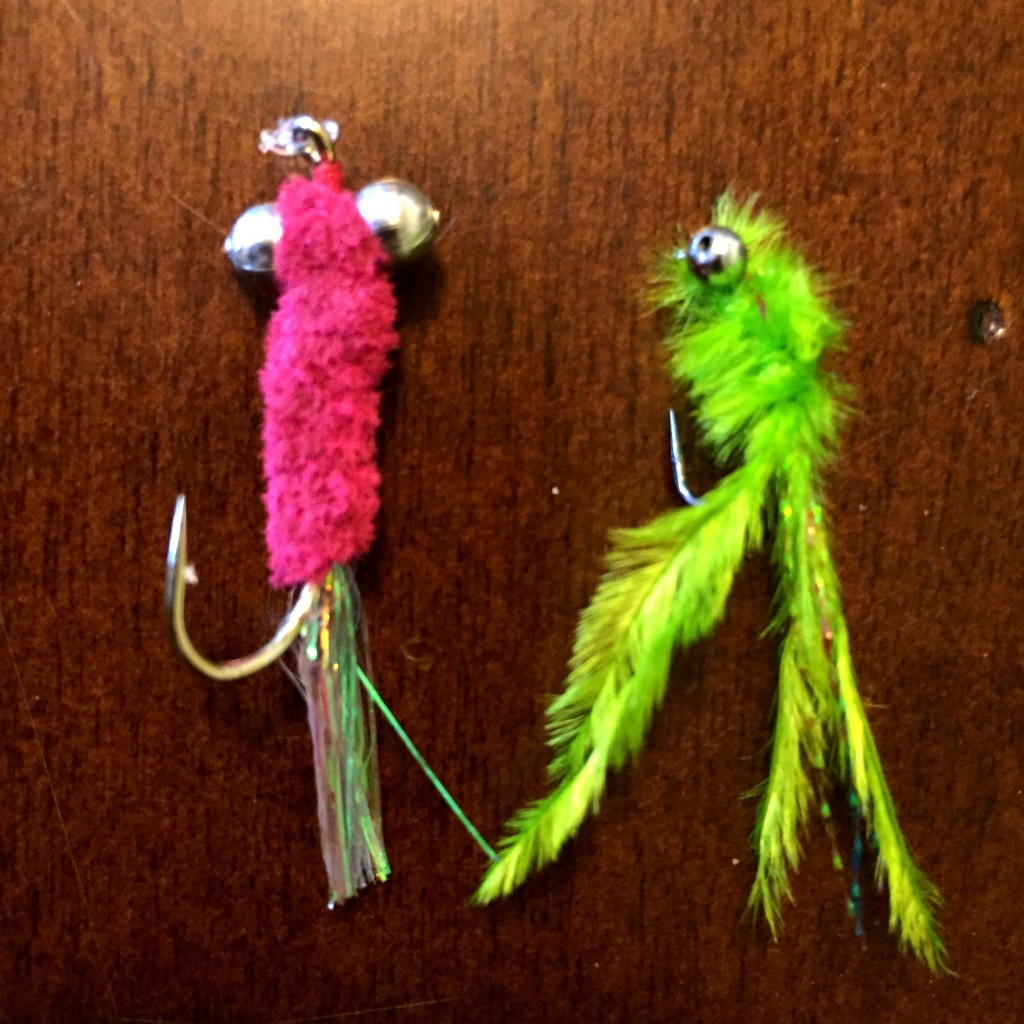 We caught a fish on every fly rob made, but these two produced the best.  Pink Chenille body fly left, Green Snowhite Damsel right.