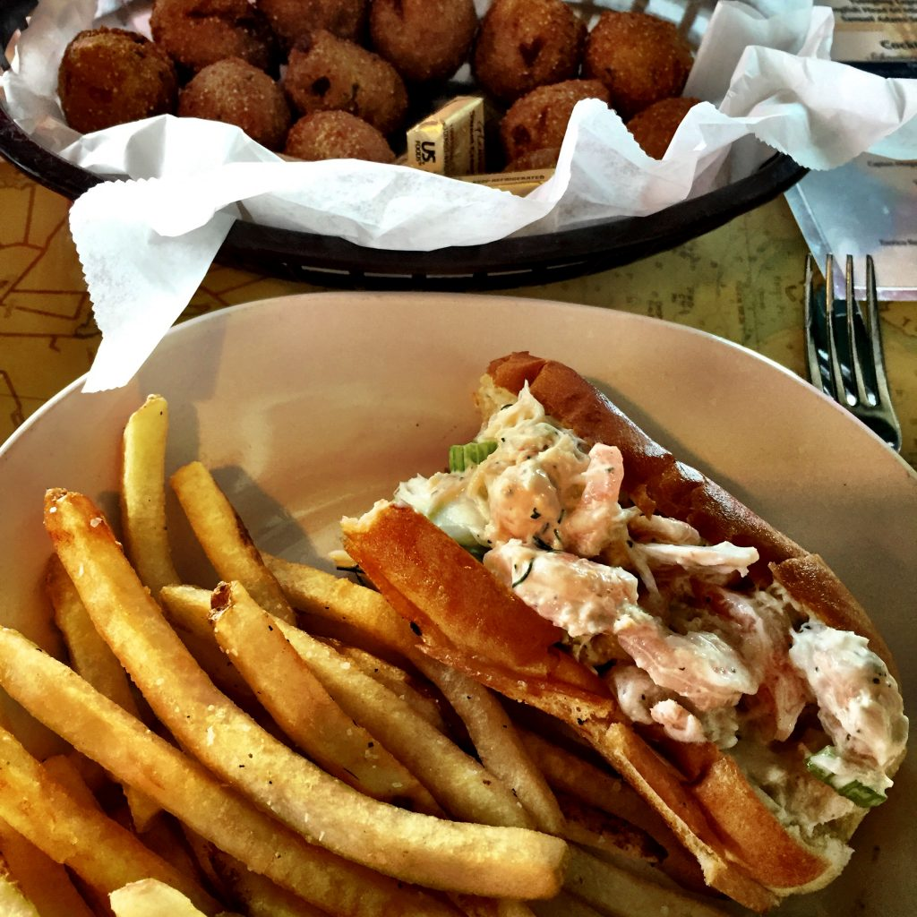 Crab roll and hush puppies
