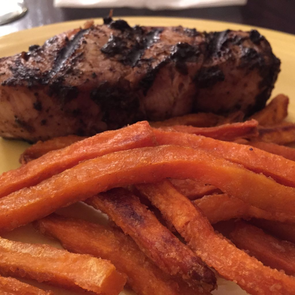 Jerk local shark and sweet potato fries